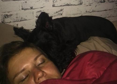 Brodie asleep on Stacey